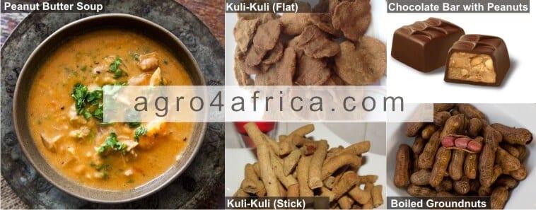 Nkatenkwan, Kuli-kuli, Chocolate sweet and boiled groundnut.